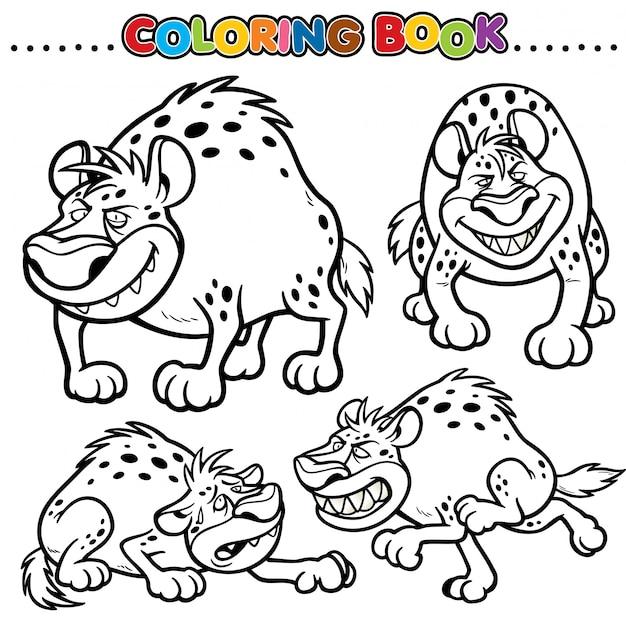 Cartoon kleurboek - hyena