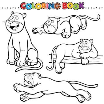 Cartoon kleurboek - panther