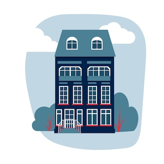 Cartoon kleurrijke architectuur amsterdam, klassiek gebouw gevel in vlakke stijl. hoog huis met bomen, struiken, wolken. banner van samenstelling stedelijk landschap close-up geïsoleerd op wit