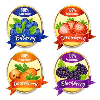 Cartoon kleurrijke bessen etiketten set