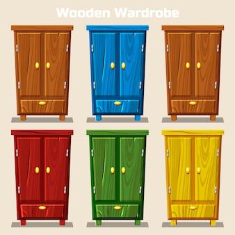 Cartoon kleurrijke gesloten kledingkast, woonkamer houten meubels