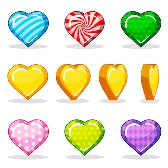 Cartoon kleurrijke glanzende hart set, game-animatie