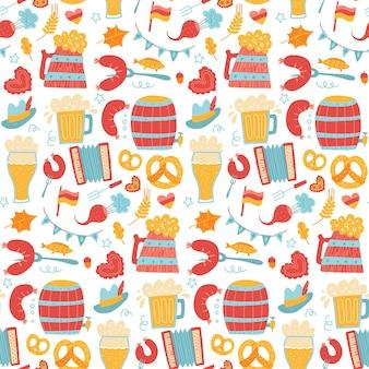 Cartoon kleurrijke hand getekend oktoberfest naadloze patroon gedetailleerde achtergrond met gegrilde worst hop ...