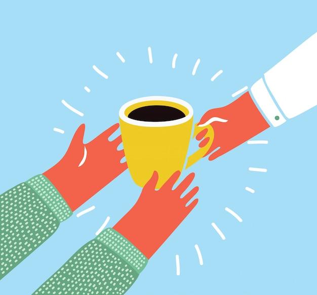 Cartoon kleurrijke illustratie van een geïsoleerde hand met een kopje koffie in de hand van een andere persoon. giet over de koffie. modern grappig grafisch stijlobject.