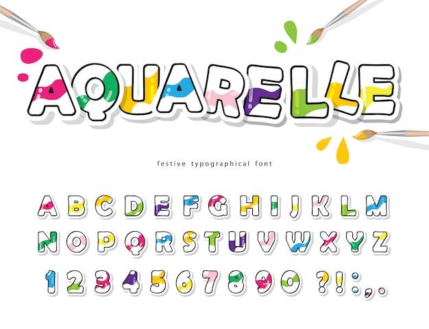 Cartoon kleurrijke lettertype voor kinderen. creatief aquarel alfabet.