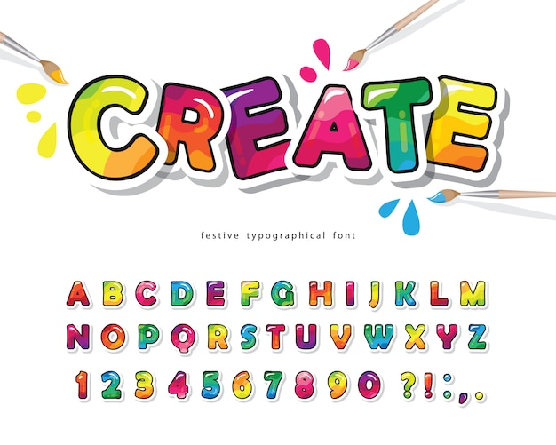 Cartoon kleurrijke lettertype voor kinderen. creatief verfalfabet.