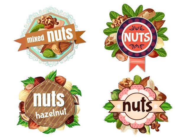 Cartoon kleurrijke noten etiketten set