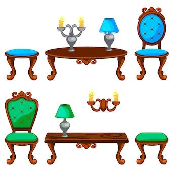 Cartoon kleurrijke retro meubels