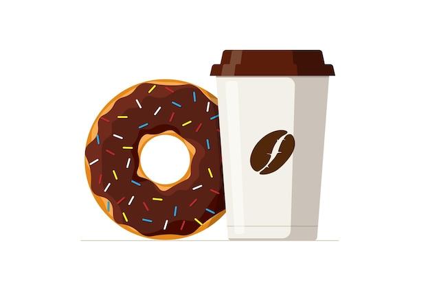 Cartoon kleurrijke smakelijke chocolade donut en wegwerp papieren koffiekopje geglazuurde donut met hot