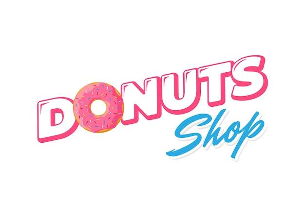 Cartoon kleurrijke smakelijke donut verse bakkerijproducten embleem ontwerp. geglazuurde donut bovenaanzicht en inscriptie voor de identiteit van het banketbakkerijbedrijf of het ontwerp van het cafémenu. vector geïsoleerde platte eps illustratie