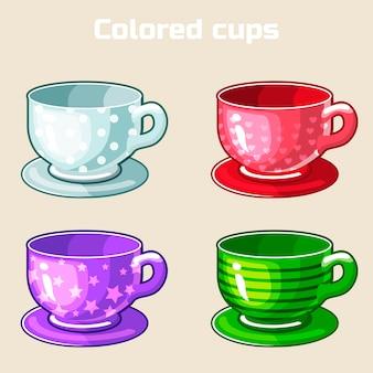 Cartoon kleurrijke thee en koffie kopjes.