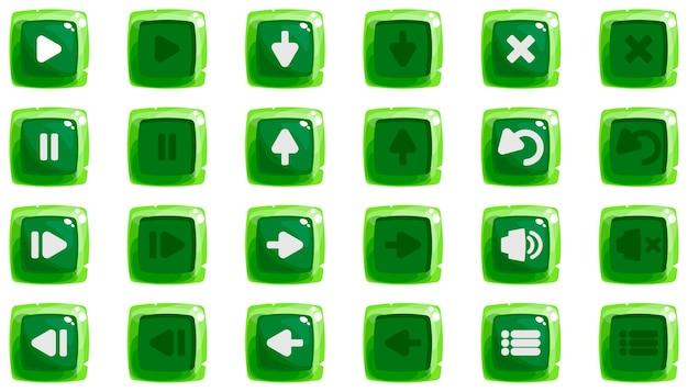 Cartoon knoppen set spel met pictogram kit van pictogrammen groene kleur in twee posities