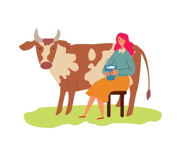 Cartoon koe en vrouw met emmer melk vlakke afbeelding