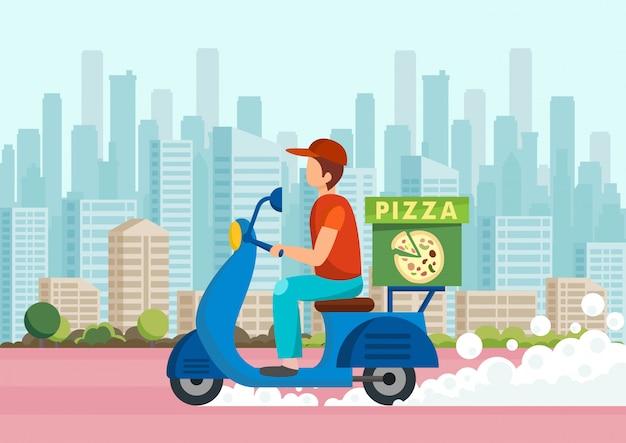 Cartoon koerier draagt pizza op scooter tegen