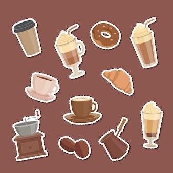 Cartoon koffie soorten stickers set illustratie