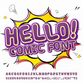 Cartoon komische lettertype. purper alfabet in stijl van strippagina, pop-art. meerlagige grappige letters en cijfers