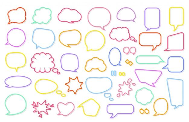 Cartoon komische retro toespraak bubble set. strips berichtsjabloon. leeg tekstvak verschillende vormen.