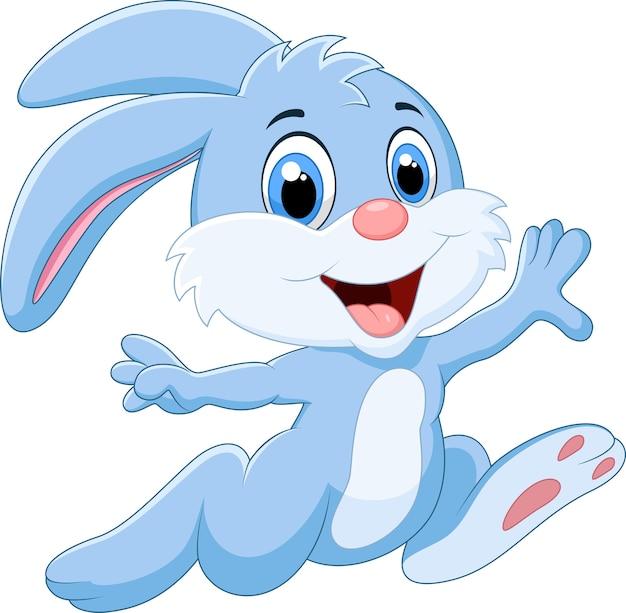 Cartoon konijn lopen en gelukkig