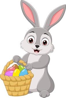 Cartoon konijn met een paasmandje