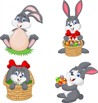 Cartoon konijn pasen collectie set