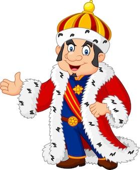 Cartoon koning zwaaiende hand