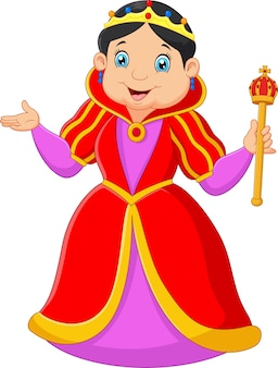 Cartoon koningin bedrijf scepter