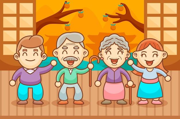 Cartoon koreaanse ouders dag illustratie