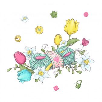 Cartoon krans van gebreide elementen en accessoires en lentebloemen