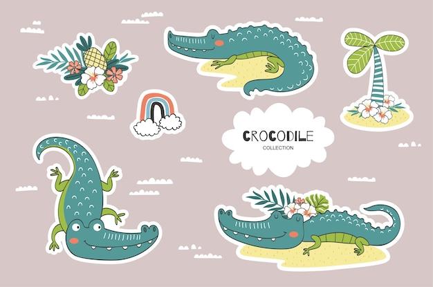Cartoon krokodil doodles collectie.