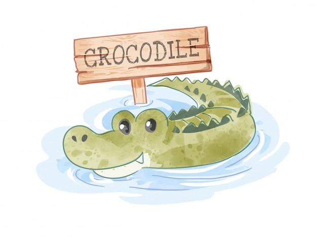 Cartoon krokodil in de vijver met houten bord illustratie