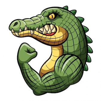 Cartoon krokodil sterke mascotte ontwerp