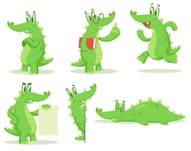 Cartoon krokodil tekenset illustraties