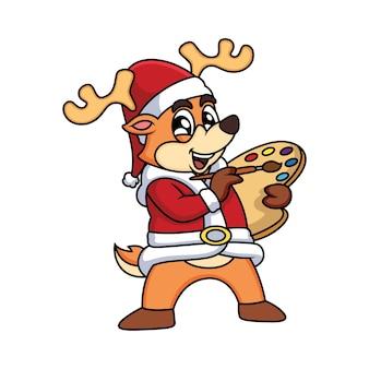 Cartoon kunstenaar deer christmas