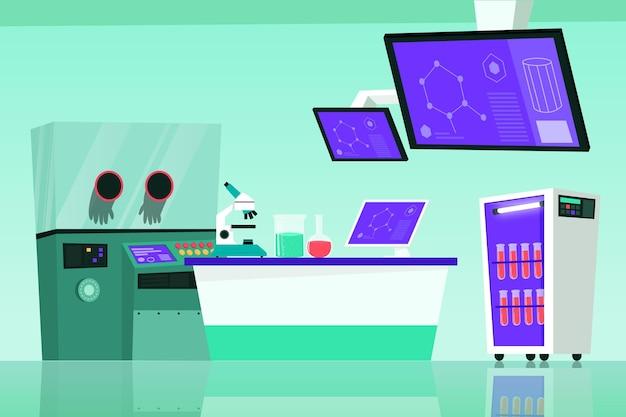 Cartoon laboratoriumruimte met technologie