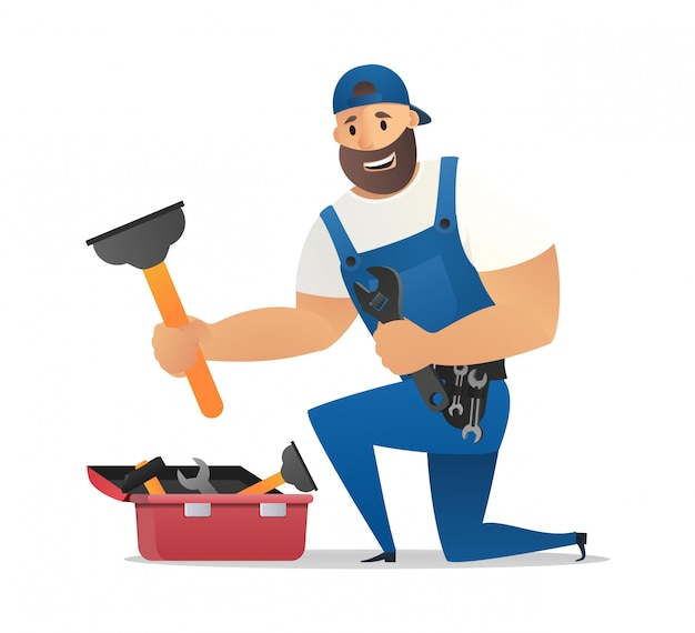 Cartoon lachende loodgieter in blauwe uniform