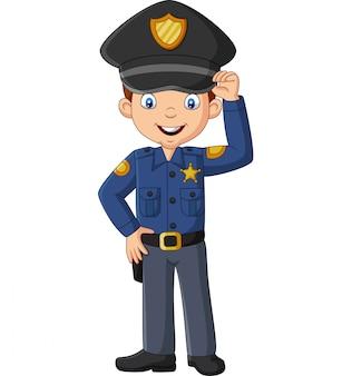 Cartoon lachende officier politieagent permanent
