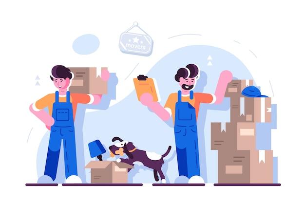 Cartoon laders verhuizers team met kartonnen dozen