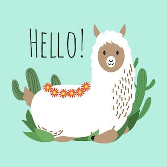 Cartoon lama vectorontwerp - hallo-kaart met schattige alpaca en cactus