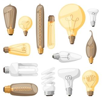 Cartoon lampen gloeilamp elektriciteit ontwerp vlakke afbeelding.