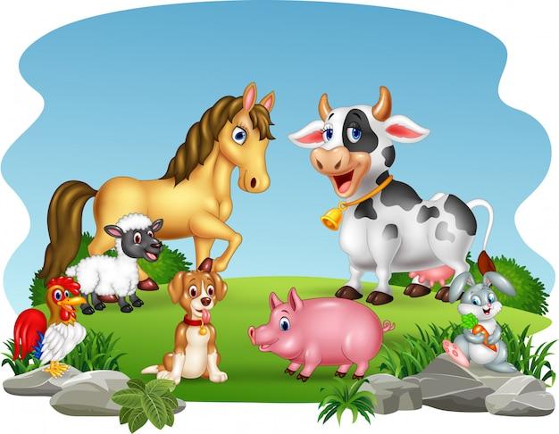Cartoon landbouwhuisdieren met natuur achtergrond