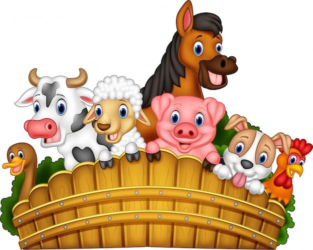 Cartoon landbouwhuisdieren