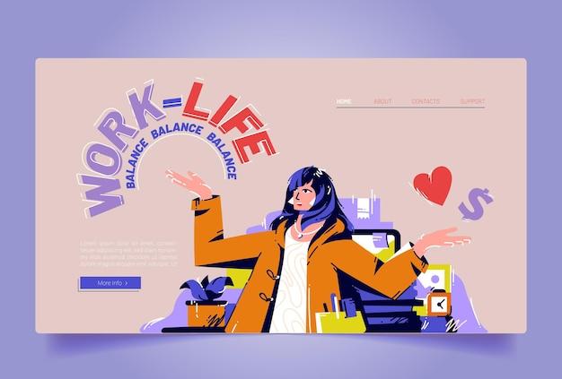 Cartoon landingspagina voor balans tussen werk en privé