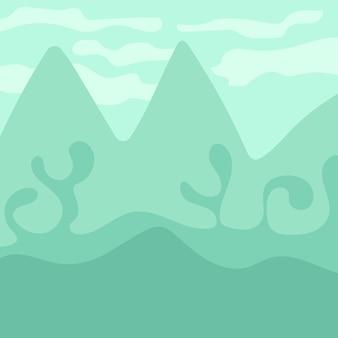 Cartoon landschap voor game-design, zachte natuur achtergrond - groene bergen