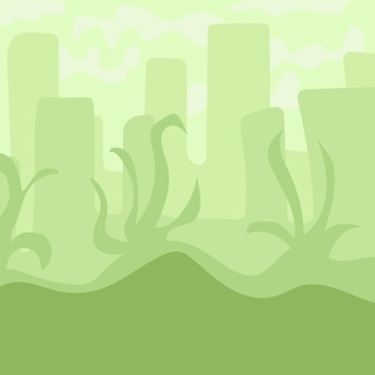 Cartoon landschap voor game-design, zachte natuur achtergrond - groene stad