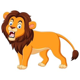 Cartoon leeuw brullende geïsoleerd op wit