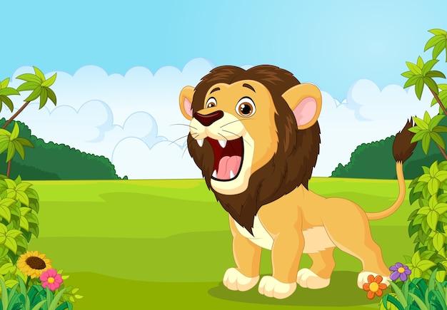 Cartoon leeuw brullende illustratie