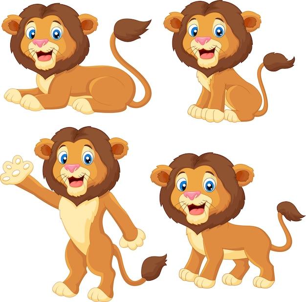 Cartoon leeuw collectie set