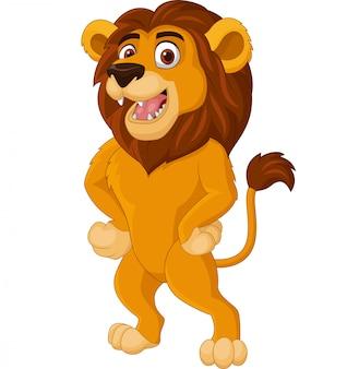 Cartoon leeuw die zich voordeed op witte achtergrond