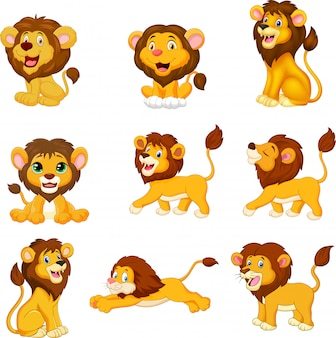 Cartoon leeuwen collectie set