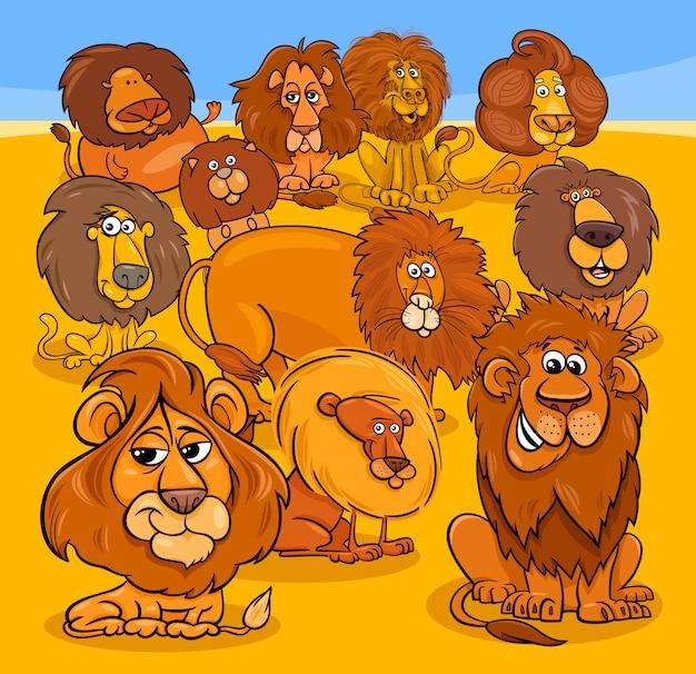 Cartoon leeuwen dierlijke karakters groep